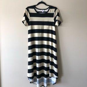 LuLaRoe black and tan striped dress